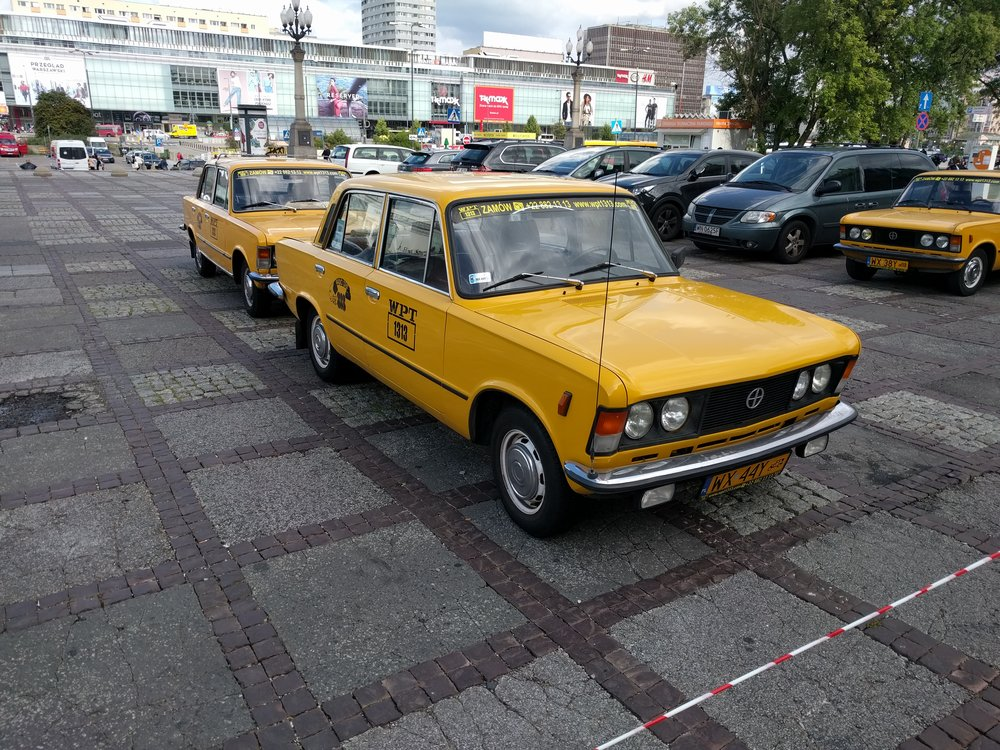Polski Fiat 125p. These ones you can rent for a self-guided tour of Warsaw