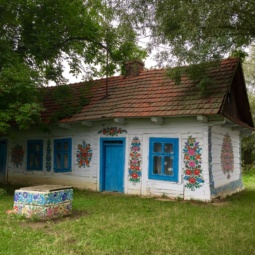 One of many things seen along Polish highways... in this case, the painted village of Zalipie.