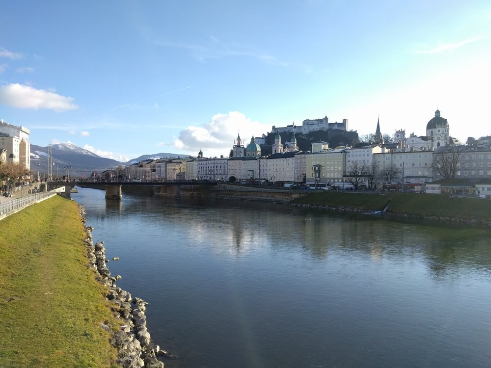 Approaching Salzburg's Old Town...