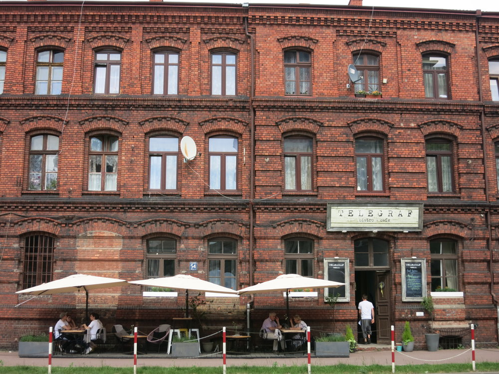 But most everything's been restored, like this building and cafe (where ate a nice lunch).