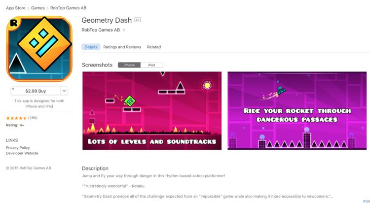geometry dash play store