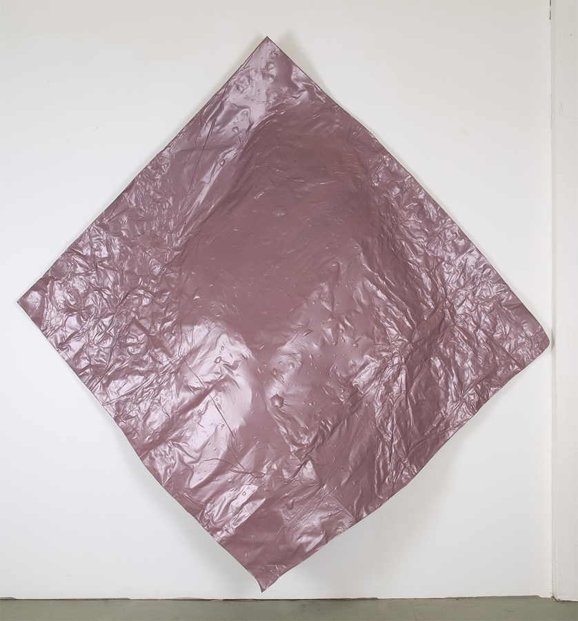 Fung-ible , 2012; salvaged adhesive vinyl; thread, adhesive, aluminum, tarp clamps; 98 x 100 x 13""