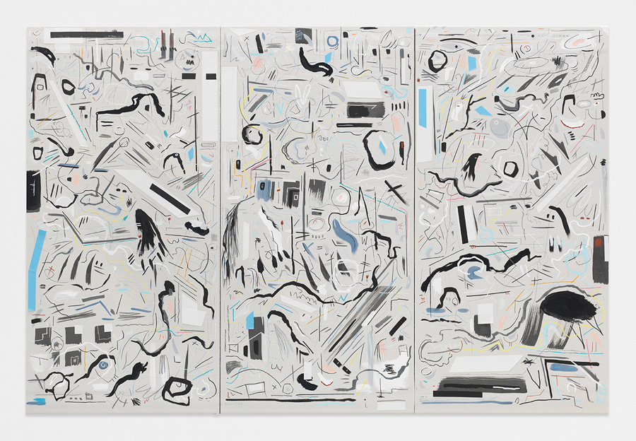 Chill Out and Laugh , 2014; chalk, acrylic, graphite and tape on sheetrock panels; 48 x 72""