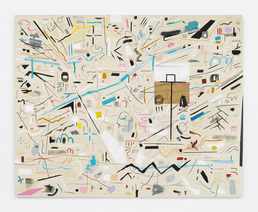 Trick Shot , 2015; acrylic, gouache, oil stick, tape, adhesive, staples on unprimed canvas, stretched over wood; 48 x 60""