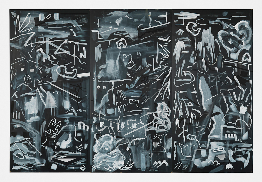 Crossed Smoke , 2015; acrylic, oil stick, and chalk on masonite blackboard; 48 x 72""