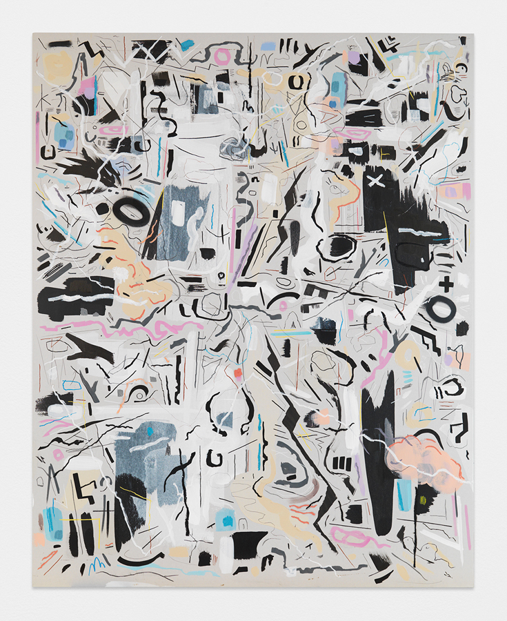 Risk v. Worth , 2016; acrylic, oil stick, gouache, chalk, tape, adhesive on sheet rock panel, 60 x 48""