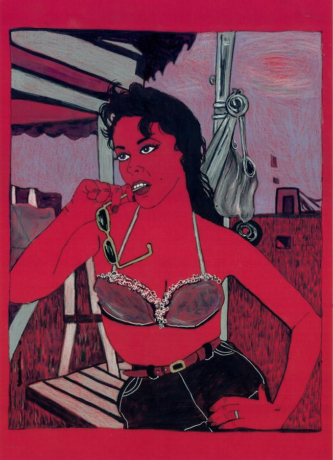 "Desire , 2006; marker andp encil on vellum, framed; 16 x 13"""