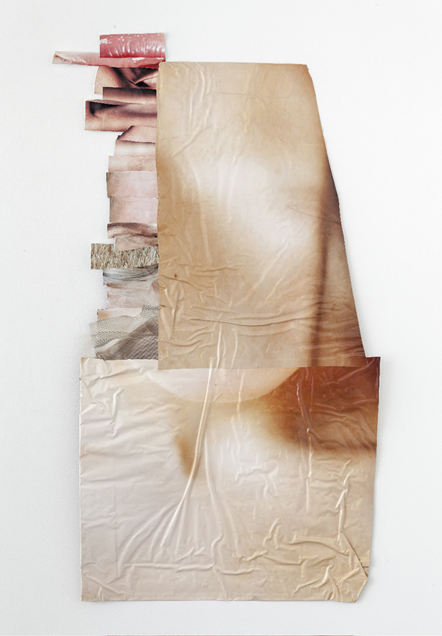 Mantle , 2012; salvaged adhesive sign vinyl; thread, Velcro, adhesive; 117 x 63.5 x 5 cm
