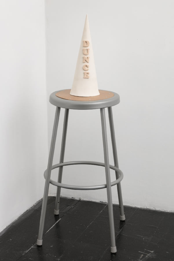 My porcelain hat,  2017, porcelain, National Public Seating stool, 47 x 14 x 14 inches overall