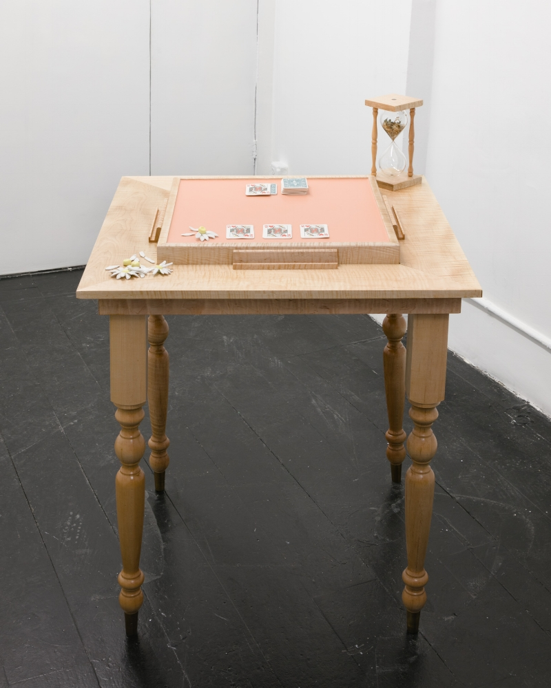 Colonial style Domino table (self-portrait),  2017, porcelain, silicone, curly maple, dried oxeye daisies, glass 33 x 33 x 45 inches overall