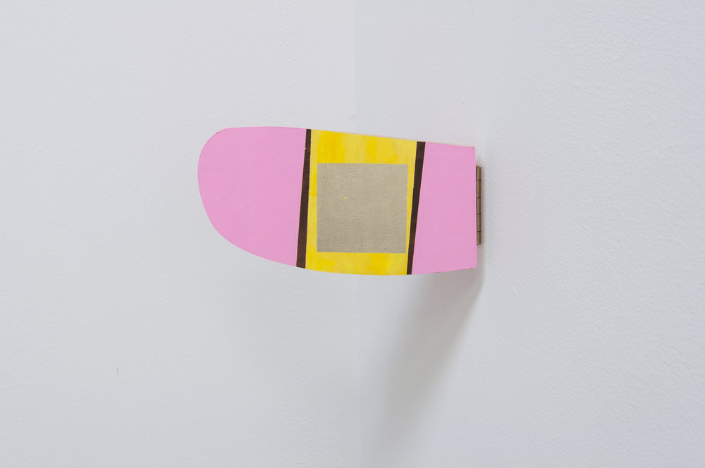 Mobile Pink Flipper Cloud Lingum,  2014; acrylic and gold leaf on plywood door hinges; 5 x 11 x 2""
