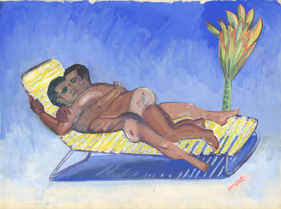 """Jimmy Wright, The Embrace: Club Baths, 1975; gouache on paper; 22 x 30"""""""