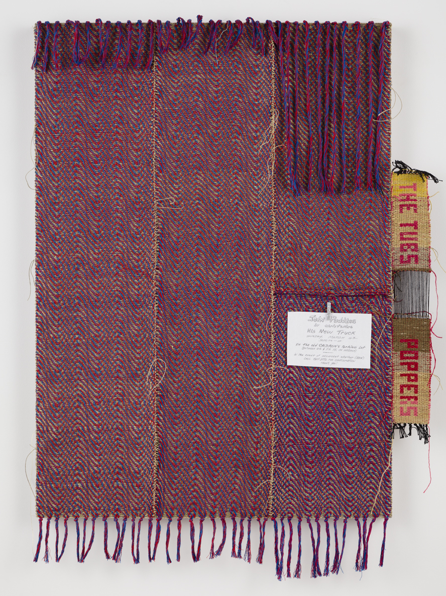 Josh Faught, If You Were in my Body, We Would be Home by Now, 2015, Hand-woven gold lame, hemp, and cotton, hand-dyed in fashionable shades of Red, Blue, Daffodil, Weld, and Watermelon, glittered clothespin, and laminated sign advertising a truck christening, 50 x 40 x 2""