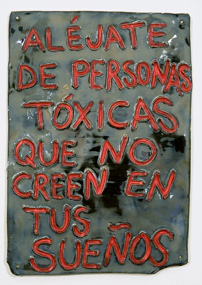 "For Tatiana & Domingo in lipstick and on mirror (take distance from toxic people who don't believe in your dreams), 2018  Porcelain  14.5 x 10"" (36.8 x 25.4 cm)"