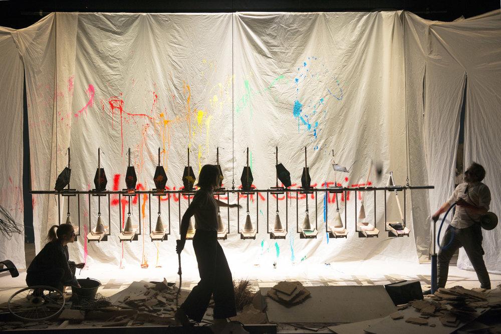"""2016-2017 Theatre Amstramgram """" Ça Dada """" un  spectacle de Alice LaloyScénographie Jane JoyetDramaturgie Emmanuelle DestremauMusique Eric RecordierAvec Stéphanie Schneider, Christian Scheidt, Barbara Tobola"""
