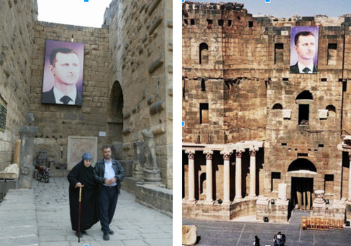 Bashar al-Assad's banner used to hang in different parts of the Roman amphitheater prior to the 2011 uprisings. Image Source: Getty