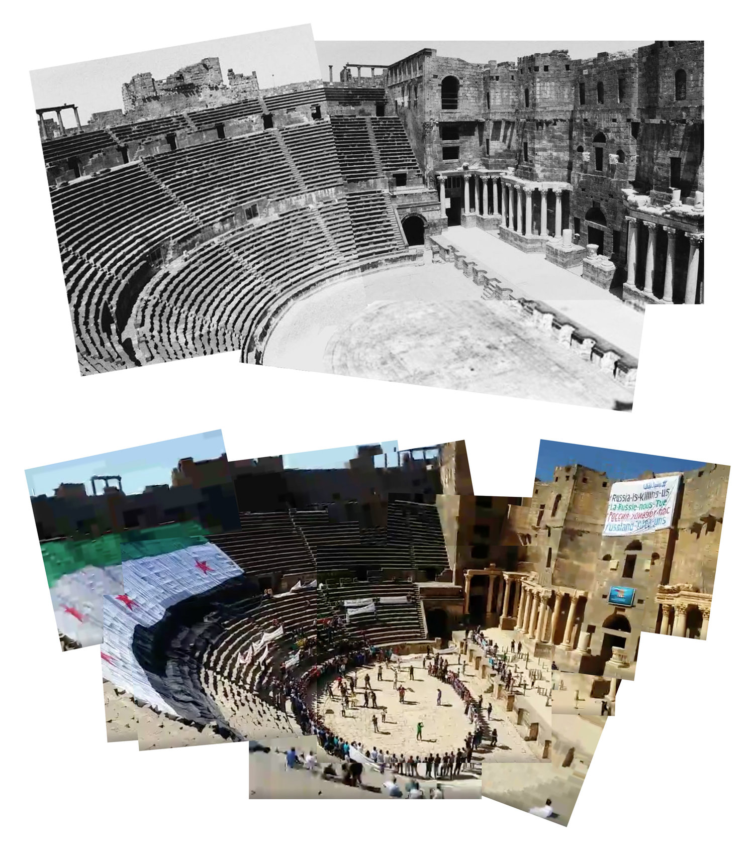 "Top image: Typical representation of Bosra al-Sham Roman amphitheater as a static, objectified and museumified historic space. Image source: Flickr Bottom Image: Representation of the historic space transformed by local community organizers. The historic space is reactivated as a site of popular assembly and political mobilization, appropriated for the purpose of a collective cause through the incorporation of political slogans, songs, flags and banners into the space which are ""prohibited"" by the state. Source: Facebook LiveStream"