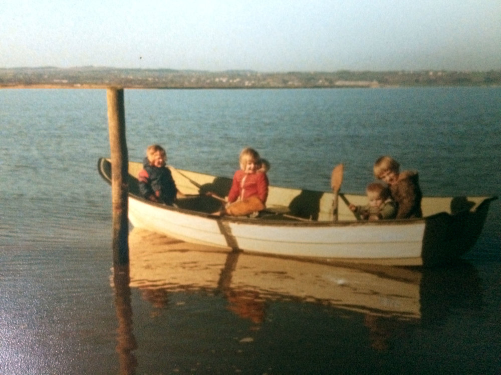 L-R Aileen, Esther, Gordon & Andrew O'Donohoe. Burrow Rosslare. 1983.