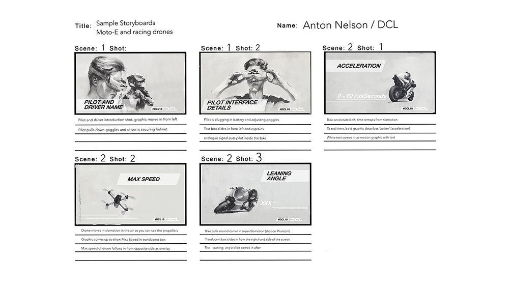 Initial storyboard concept for DCL / Dorna promotional social video for Redbull TV.