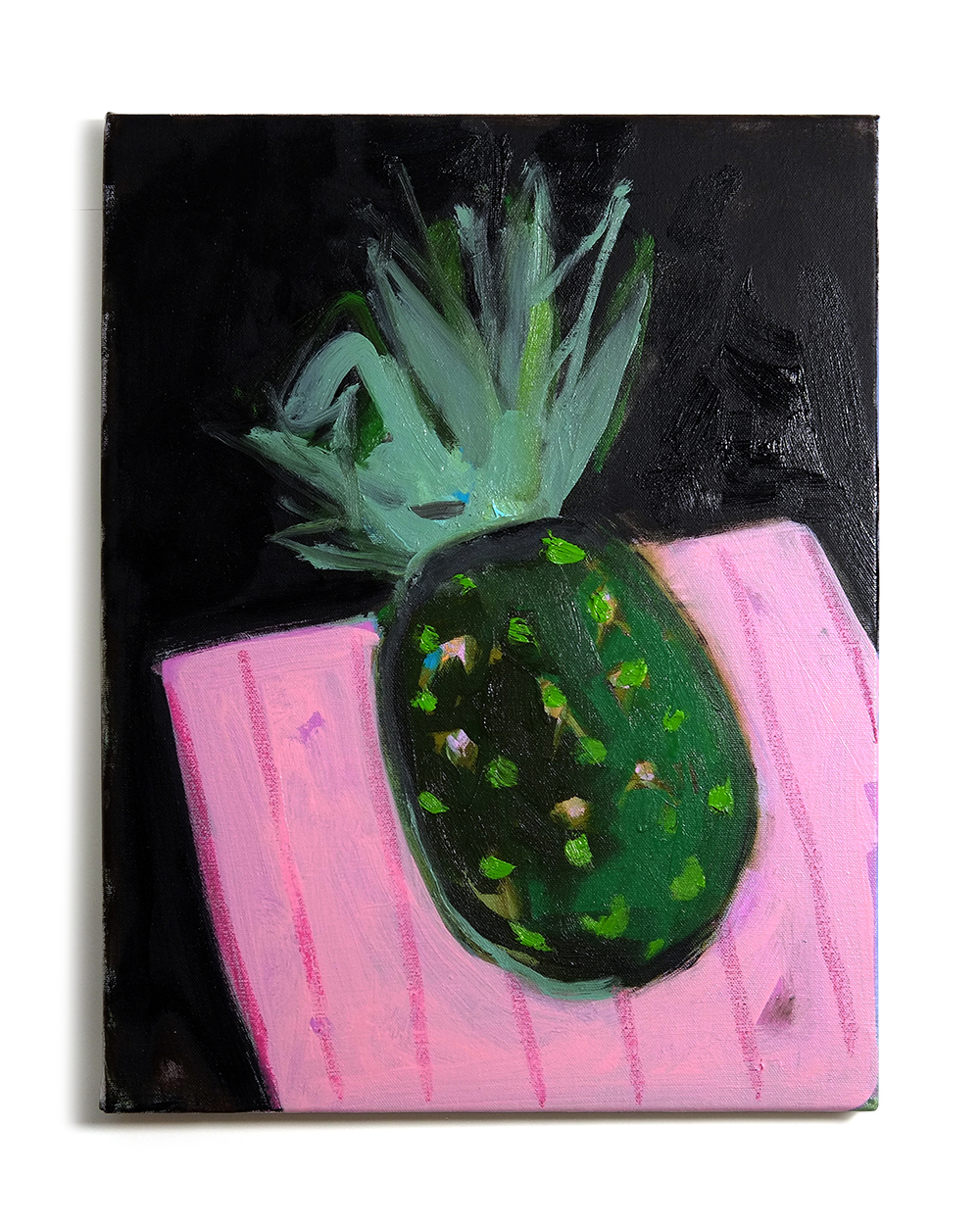 Pineapple on Pink Tablecloth