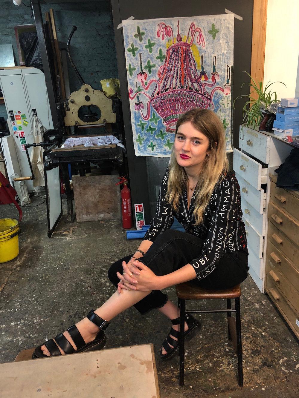 Rose in her studio wearing RIXO