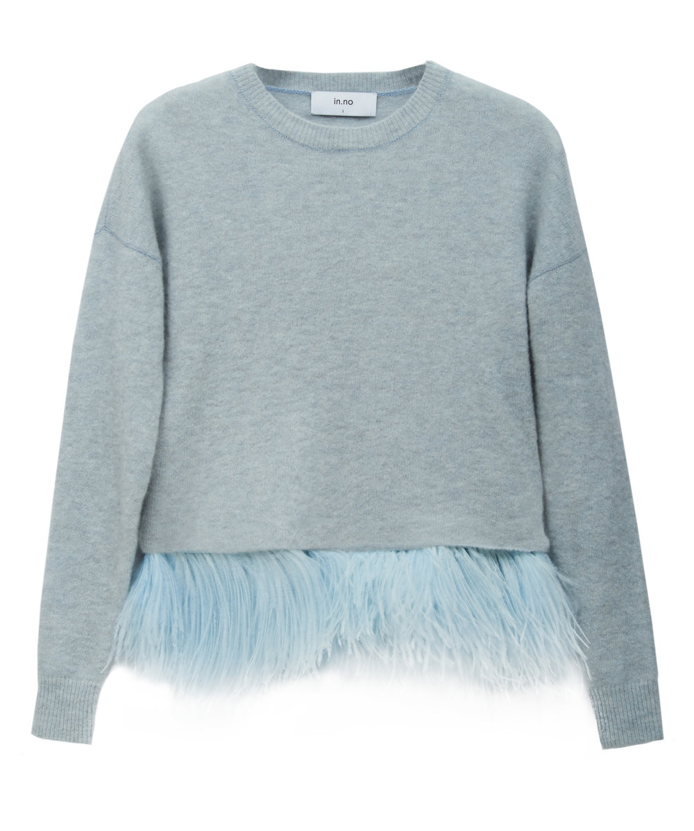 in.no Edition 1.0 Icelyn ice blue feather jumper