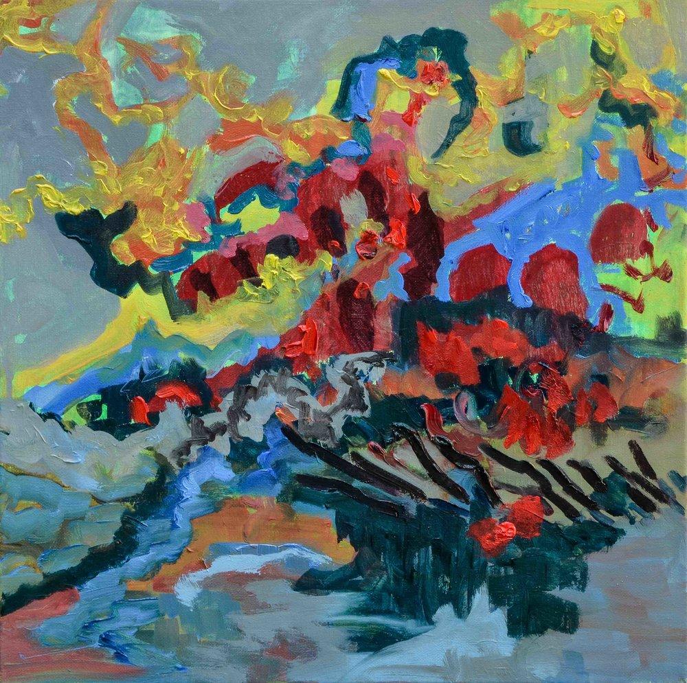 La nuit n'existe pas - Oil on Canvas - 40x40cm