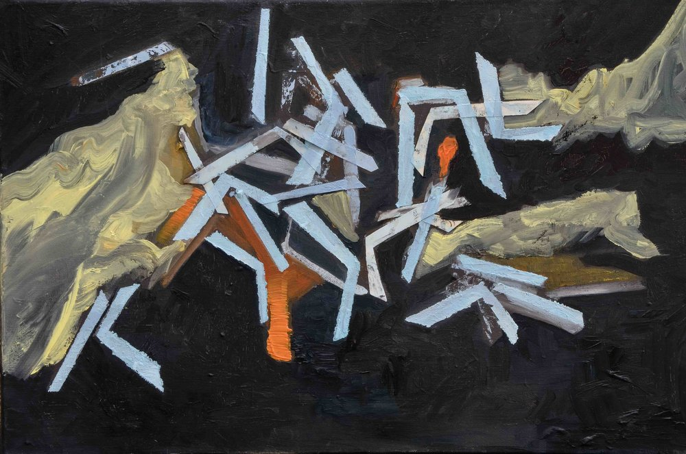 K, May 2015, Oil on canvas with paper collage, 60 x 40 cm   The letter K was used as a repeating pattern, broken up and distorted, to represent the battle and oppositions present in the relationship it depicts.The letters are formed of paper that is roughly glued to the canvas –and sometimes sticking out, giving a sense of mess and urgency. The relationship was intense and passionate, and had a calming, troubling and stirring effect. I wanted to convey a sense of push and pull and paradox in this painting.