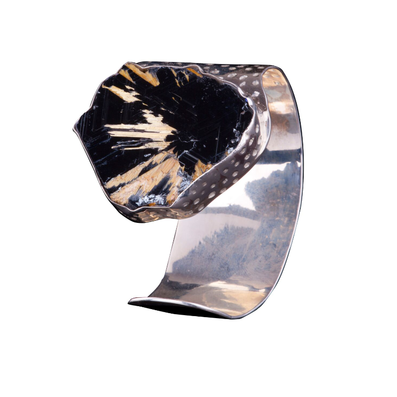Collector's specimen of rutile needles on hematite, set on a white gold-plated silver cuff