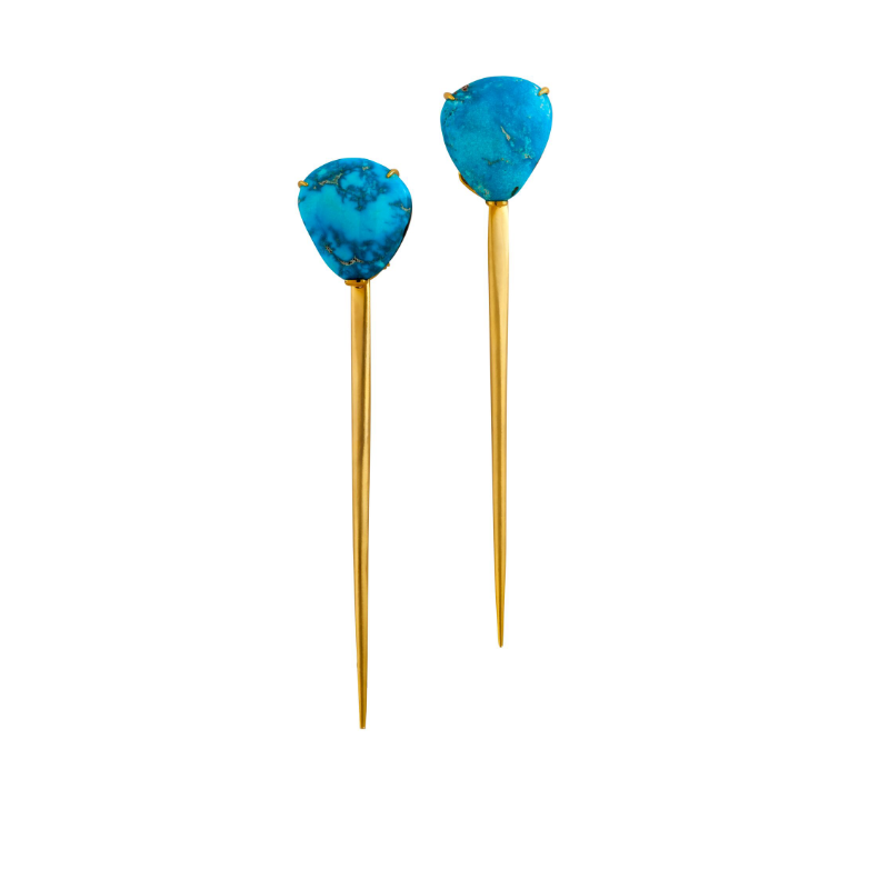 Turquoise (Nevada, USA) and 18k yellow gold earrings