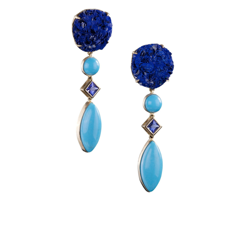 Azurite rose (Morocco), tanzanite and sleeping beauty turquoise (Arizona, USA) earrings, set in 18k gold