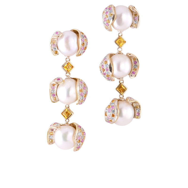 Baroque freshwater pearls (China), yellow sapphire and multi-colored sapphire pavé earrings, set in 18k gold