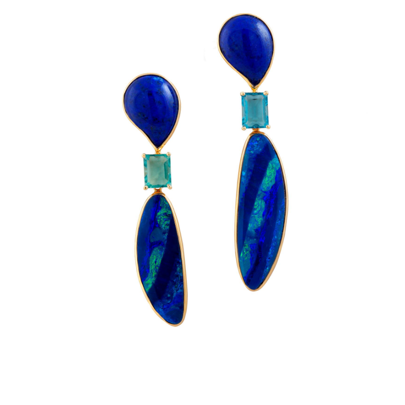 Black opal (Australia), square-cut greenish-blue fluorite (England) and tear-drop cabochon-cut lapis lazuli (Afghanistan) earrings, set in 18k gold