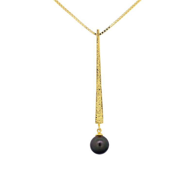 Black pearl (Tahiti) necklace with 18k yellow gold