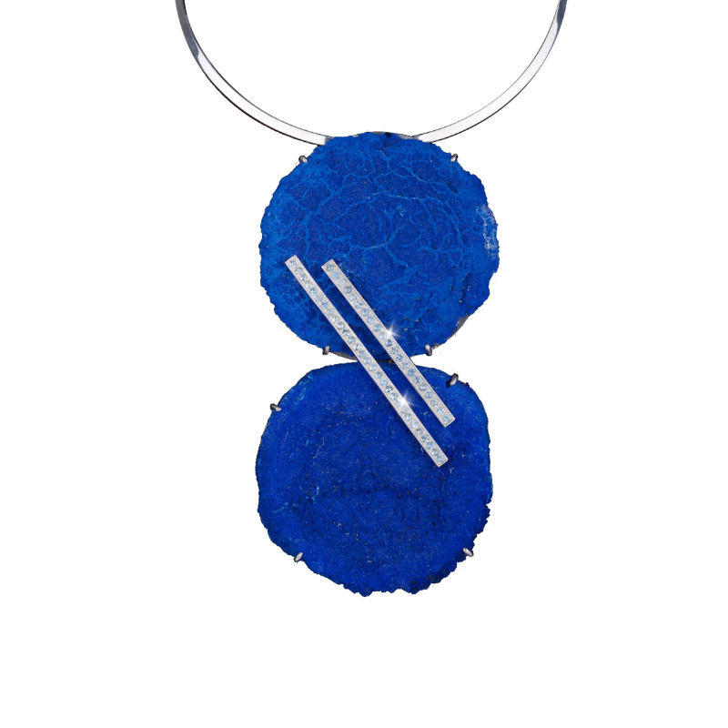 Azurite specimen (Australia) necklace with 18k white gold bars set with aquamarine pavé