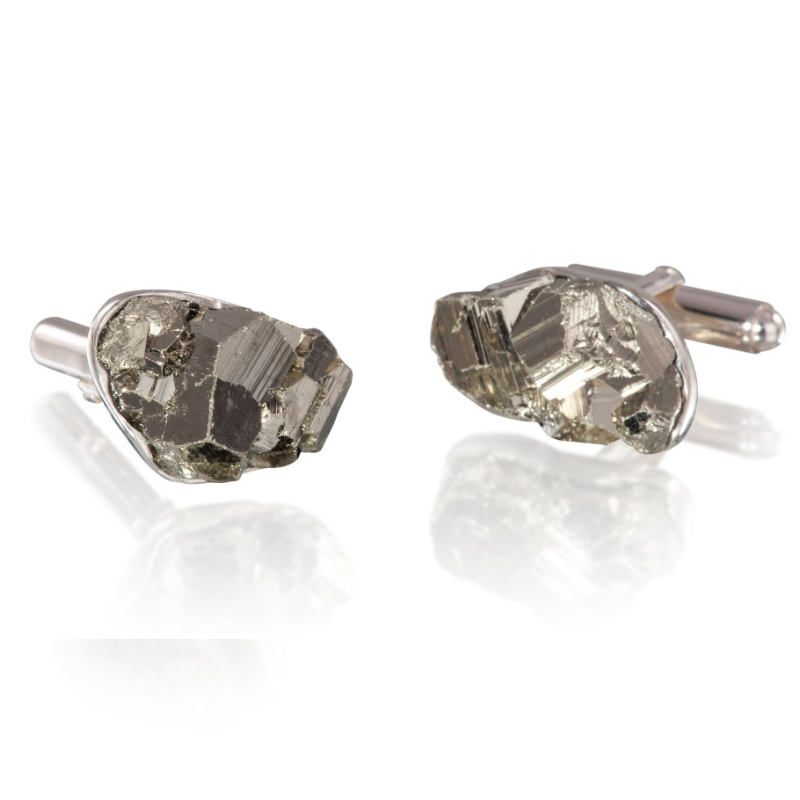Pyrite (Peru) on 925 silver cufflinks
