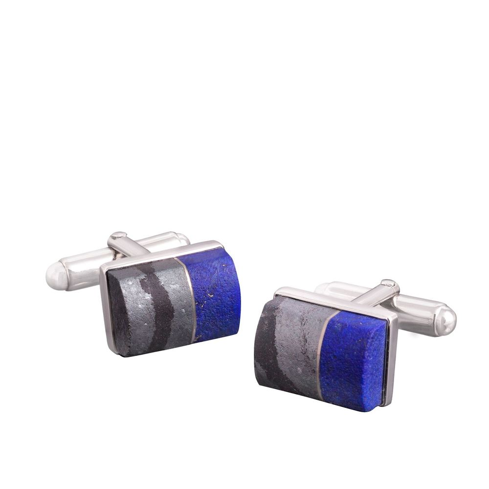 Lapis lazuli (Afghanistan) and hematite cufflinks, with a 18k white gold bezel and mother of pearl backing, set in white gold-plated 925 silver