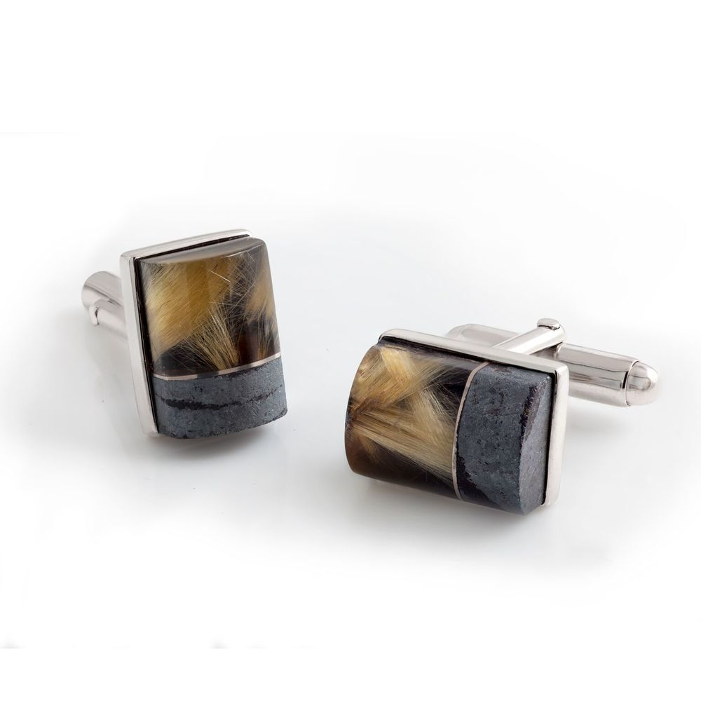 Rutilated quartz (Brazil), hematite and black jade cufflinks, with a 18k white gold bezel and mother of pearl backing, set in white gold-plated 925 silver