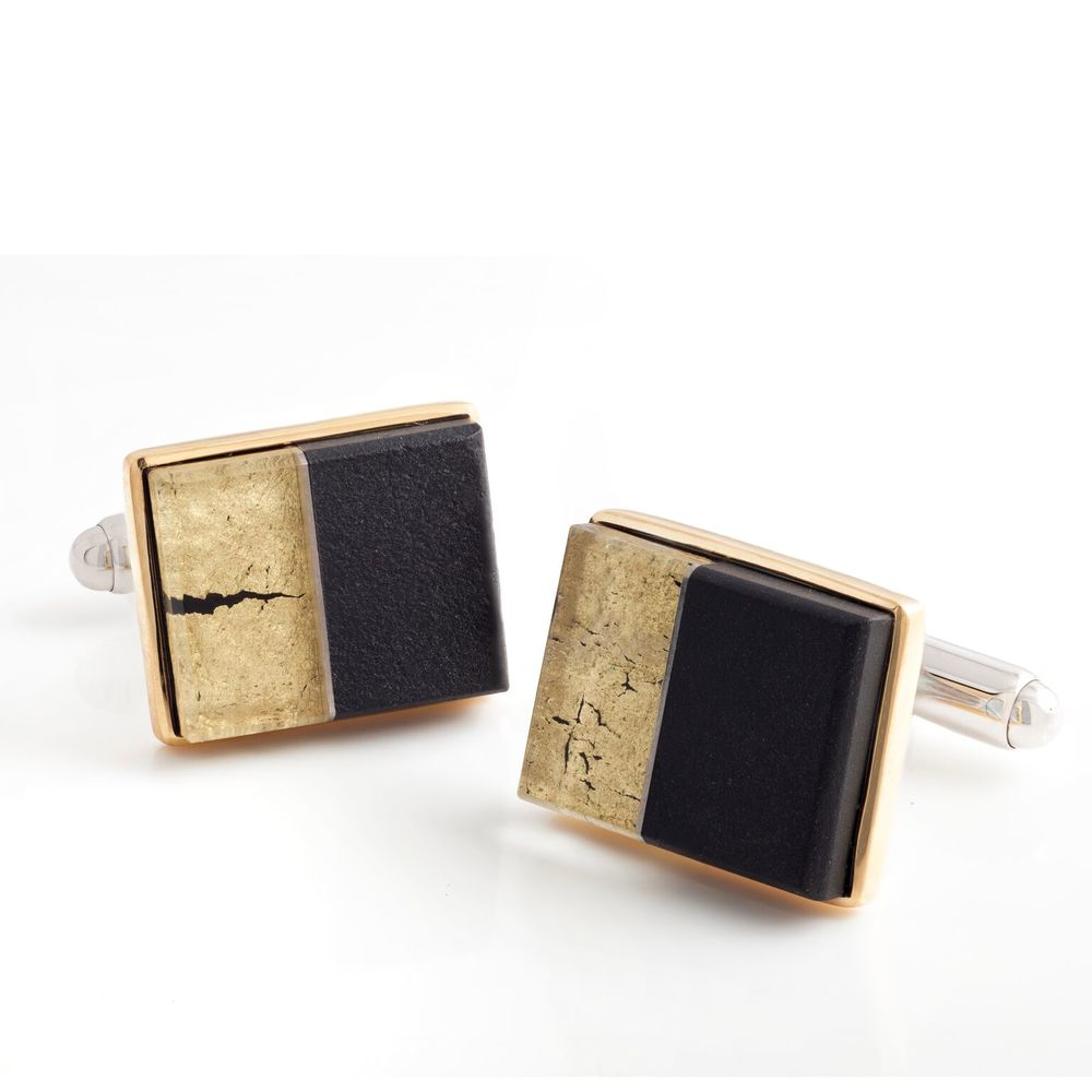 Black jade and 22k yellow gold covered by thin layer of rock crystal quartz cufflinks, with a 18k yellow gold bezel and mother of pearl backing, set in white gold-plated 925 silver