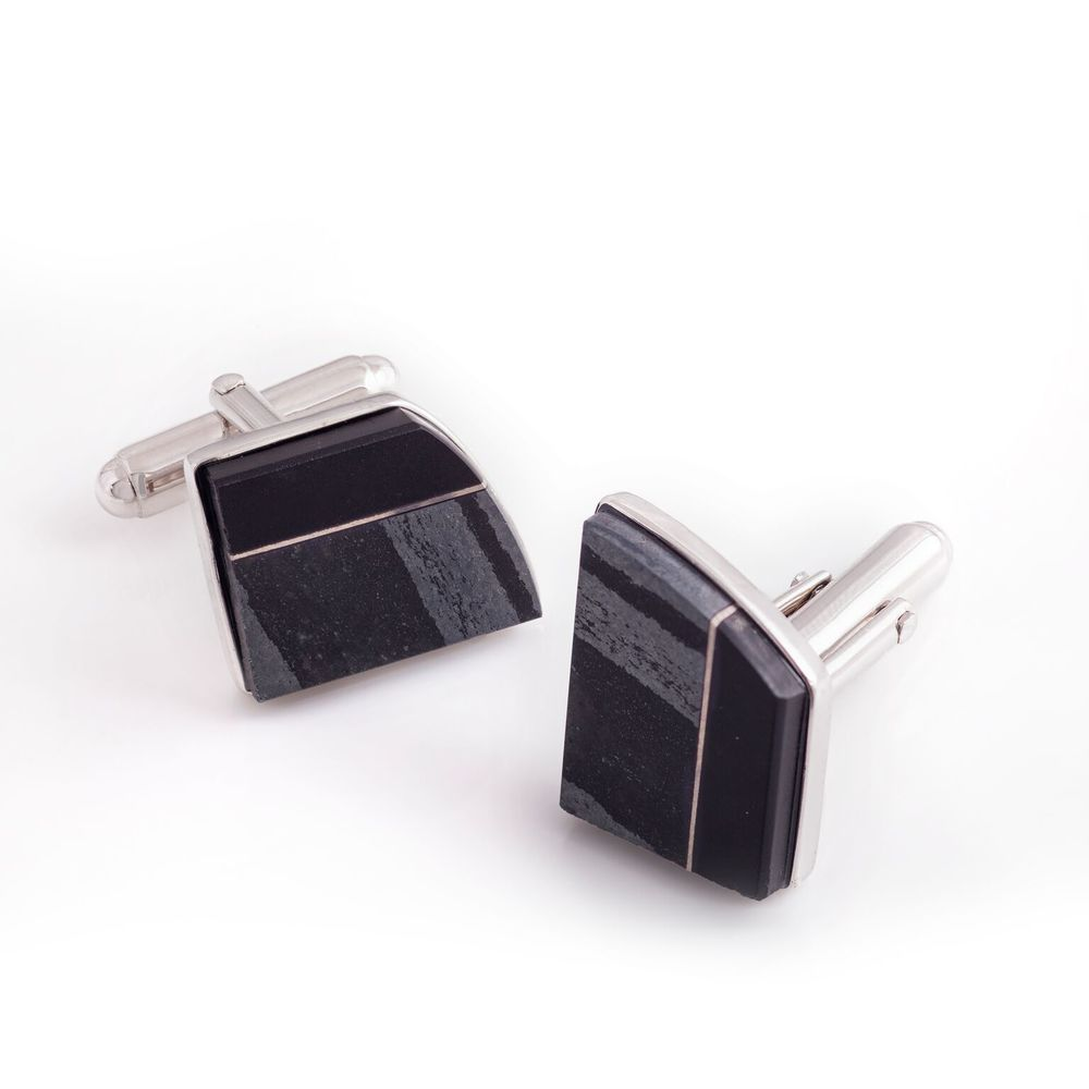 Hematite and black jade cufflinks with titanium, set in white gold-plated 925 silver