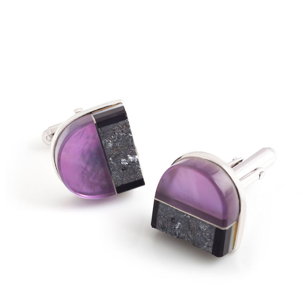 Black jade, amethyst (Brazil) and meteorite (Russia) cufflinks, with a 18k white gold bezel and mother of pearl backing, set in white gold-plated 925 silver
