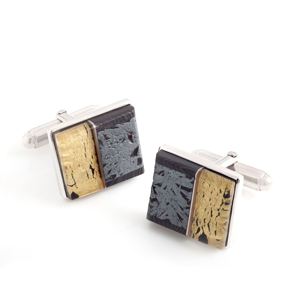 Meteorite (Russia) and 22k yellow gold covered by thin layer of rock crystal quartz cufflinks, with a 18k white gold bezel and mother of pearl backing, set in white gold-plated 925 silver