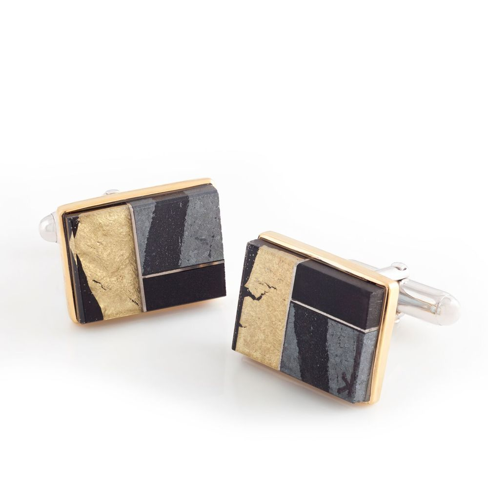 Hematite, black jade, and 22k yellow gold covered by thin layer of rock crystal quartz cufflinks, with a 18k yellow gold bezel and mother of pearl backing, set in white gold-plated 925 silver