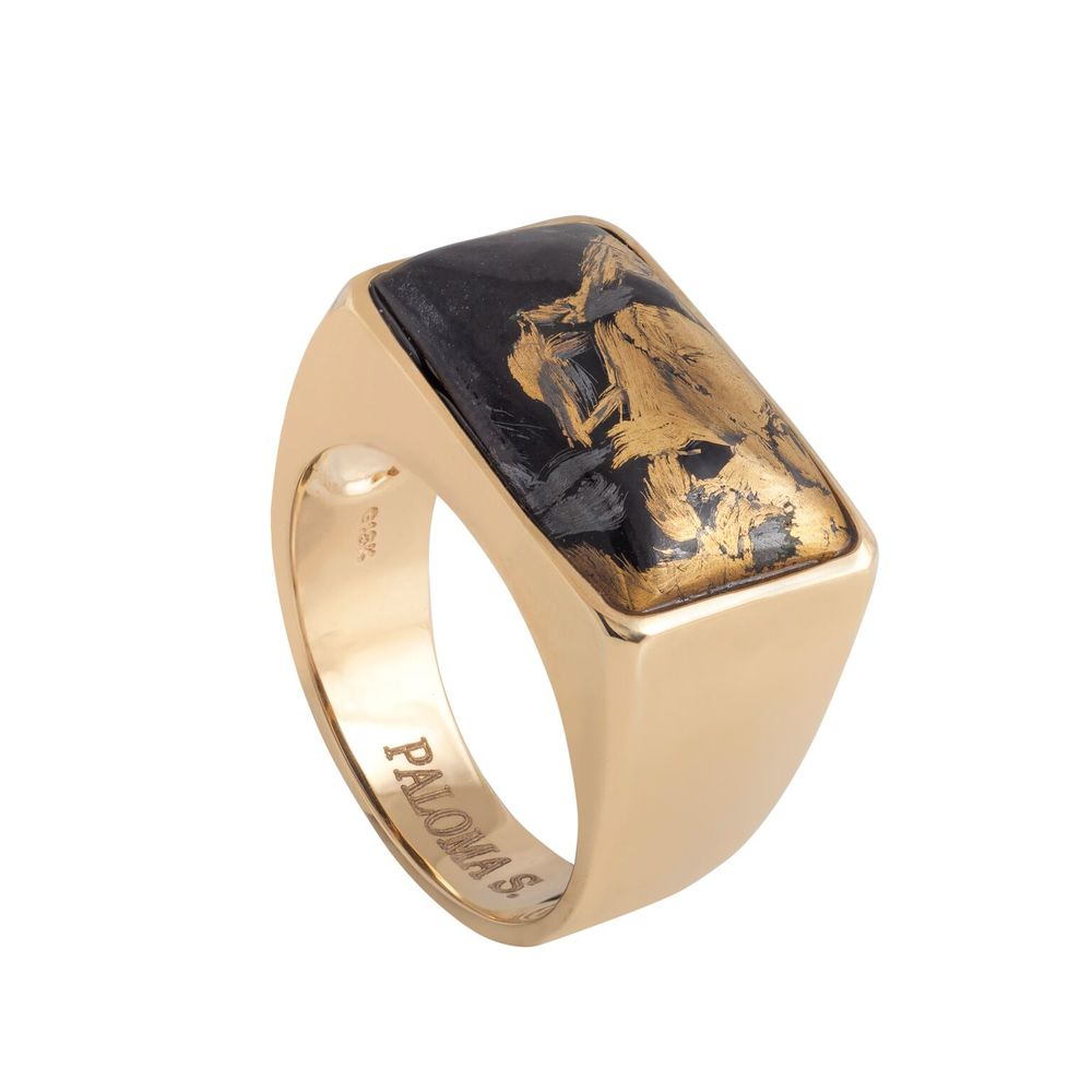 Magnetite jade (USA) with gold on a ring, set in 18k yellow gold