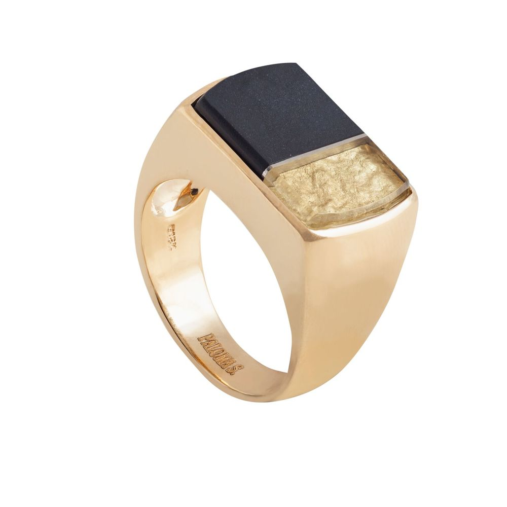 Black jade and 22k gold covered by thin layer of rock crystal quartz, set on a 18k yellow gold ring