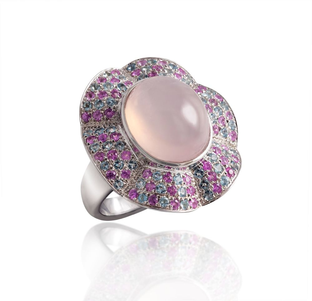 Rose quartz with aquamarine and pink sapphire pavé, set in a white gold-plated silver ring