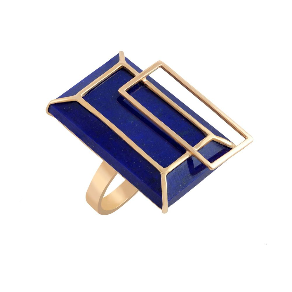 Lapis lazuli (Afghanistan) with 18k yellow gold, set in a 18k yellow gold-plated silver ring