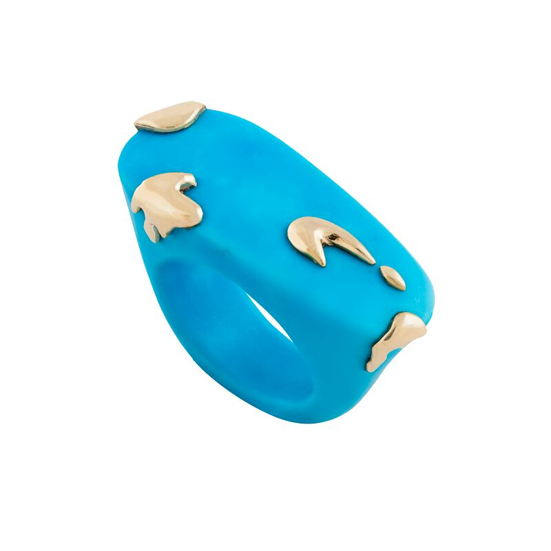 Sleeping beauty turquoise (Arizona, USA) and melted 18k yellow gold ring