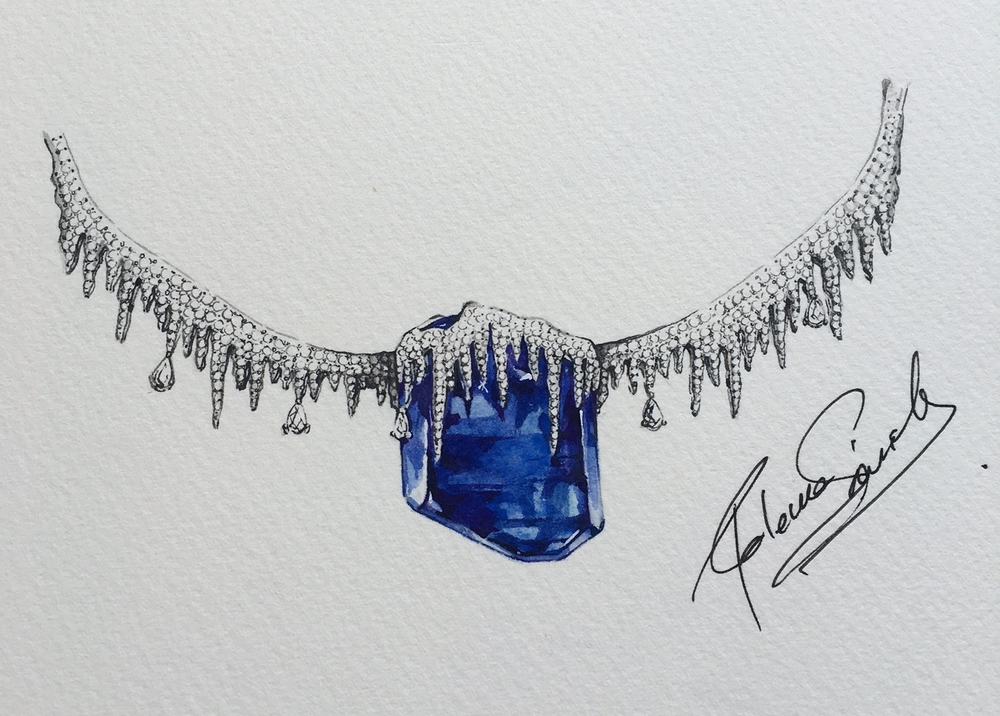 Specimen tanzanite necklace with diamonds