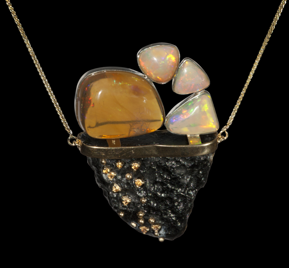 Fire opal, wallo opal, tektite necklace